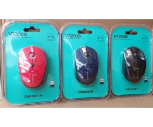 Mouse ko dây SIMETECH V7200B Black/Red Wireless + Bluetooth